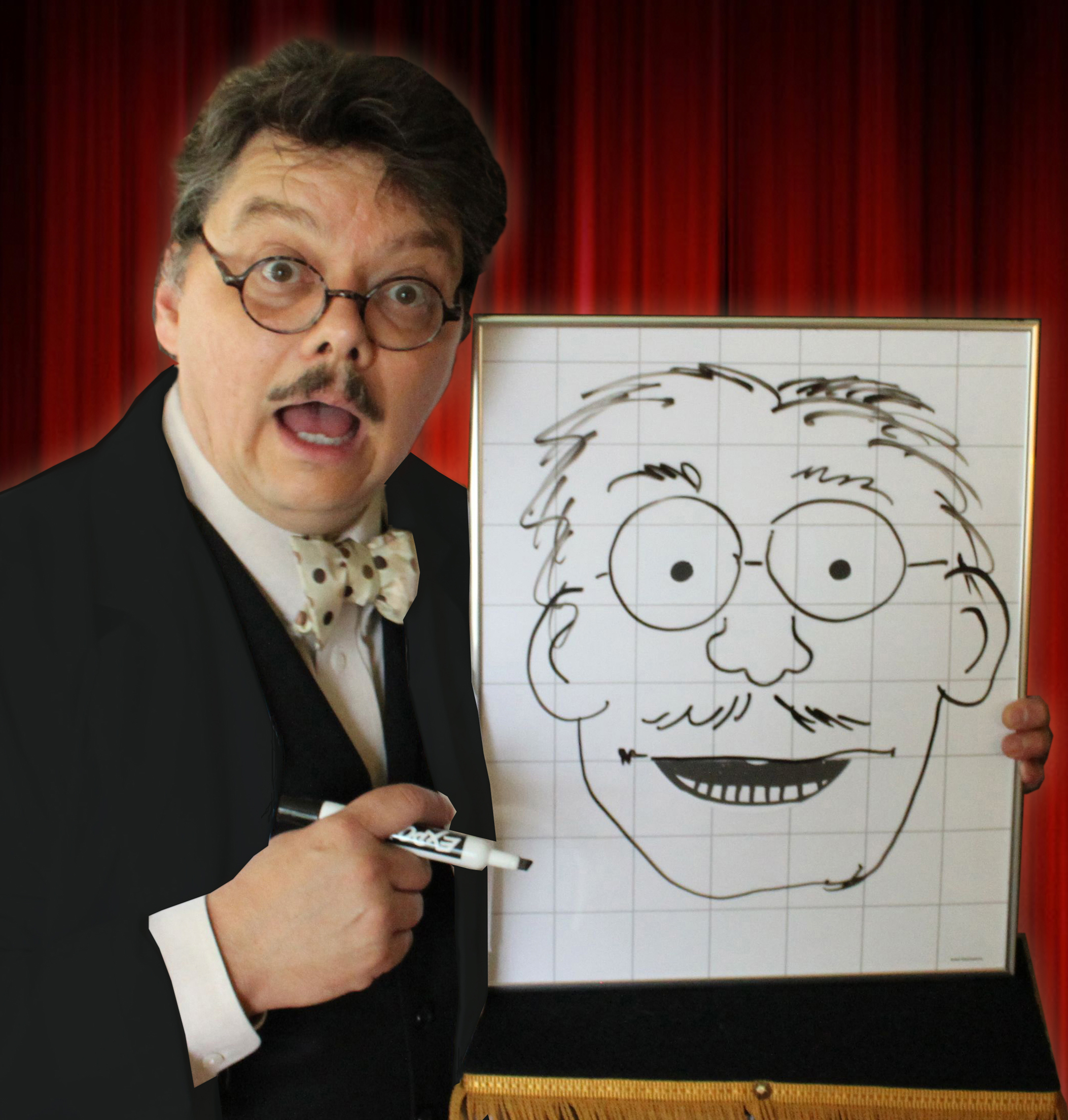 """David Pitts, also known as The Astonishing Mr. Pitts"""", San Antonio, TX magician, ventriloquist and family entertainer, amazes his audience with """"The Evil Dr. Sketchy"""", a drawing that comes to life and talks!"""