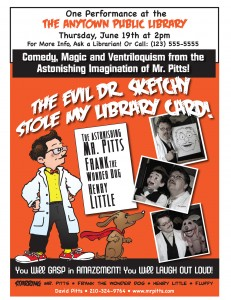 "Poster for Library Reading Show ""The Evil Dr. Sketchy Stole My Library Card!"""