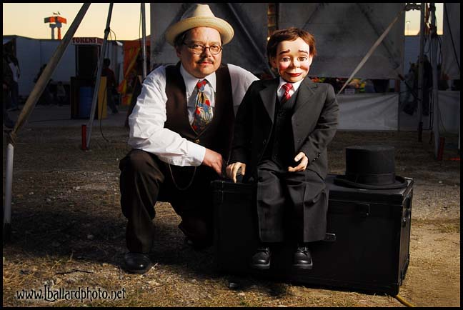 Ventriloquist and Magician David Pitts and his Friend Henry Little Behind the Bannerline of the Big Circus Sideshow