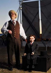 Ventriloquist David Pitts and his puppet partner Henry Little at the Big Circus Sideshow at the Star Fair and Rodeo in Austin, TX