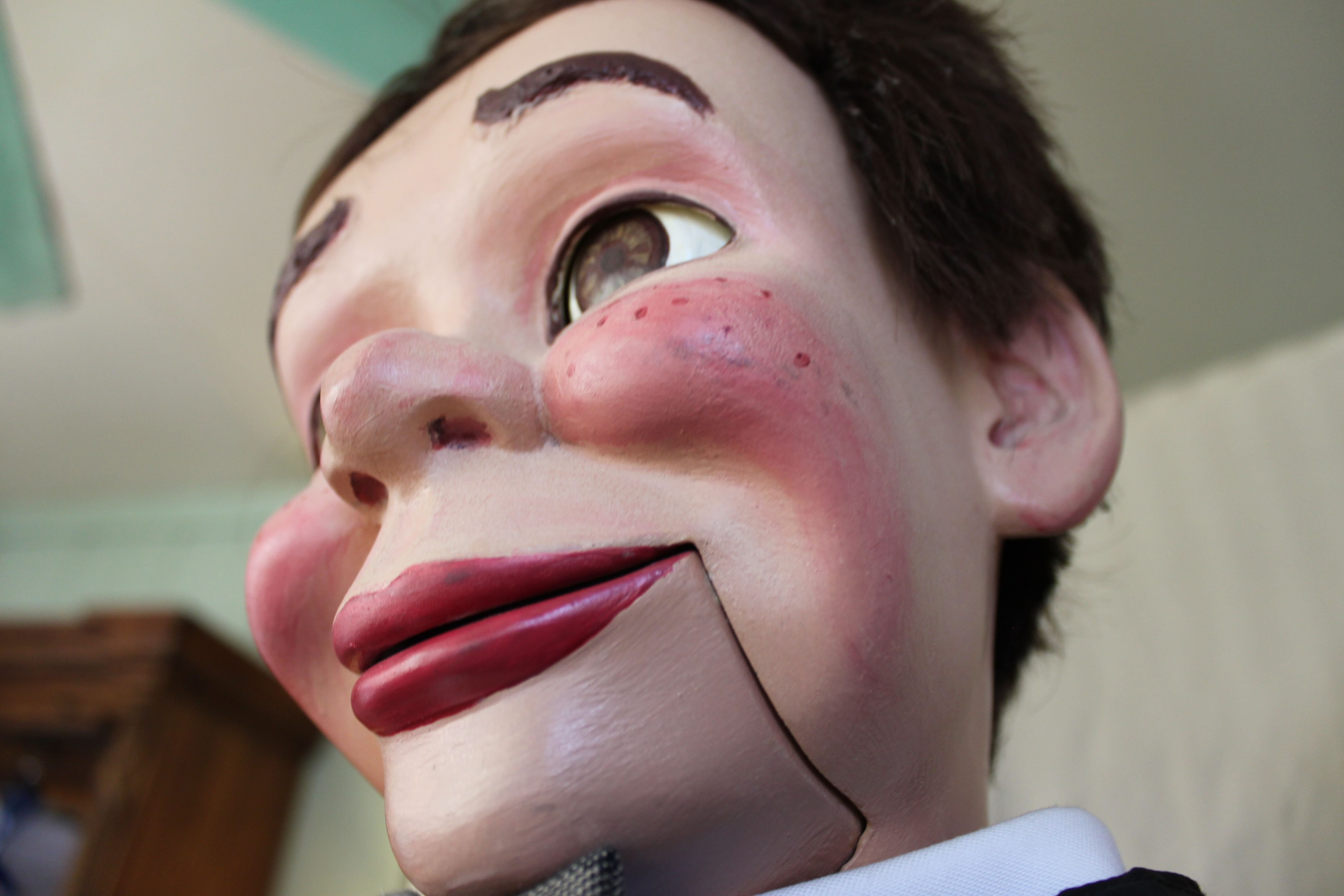 A very close look at ventriloquist dummy Henry Little, makes him look like a carnival attraction