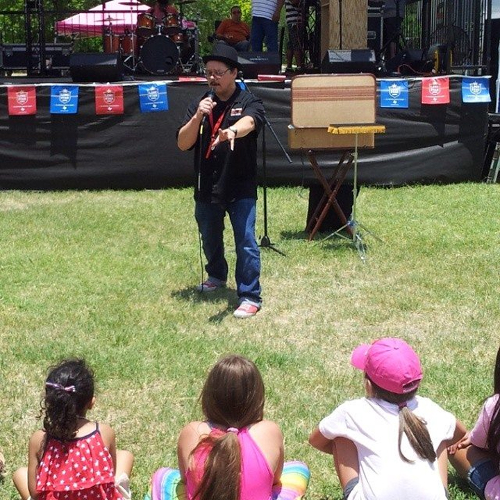 David Pitts, magician, ventriloquist and family comedian entertains the kids of Leon Valley Texas at the Leon Valley 4th of July Festivities