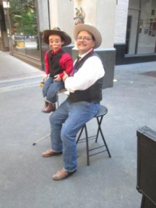 San Antonio, Texas comedy ventriloquist and family comedian David Pitts and his puppet pardner Henry Little entertain on San Antonio's historic Houston Street.n