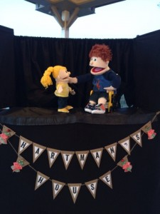 "Hartman and Holly, stars of ""Hartman's House"", a puppet show at Morgan's Wonderland in San Antonio, TX."