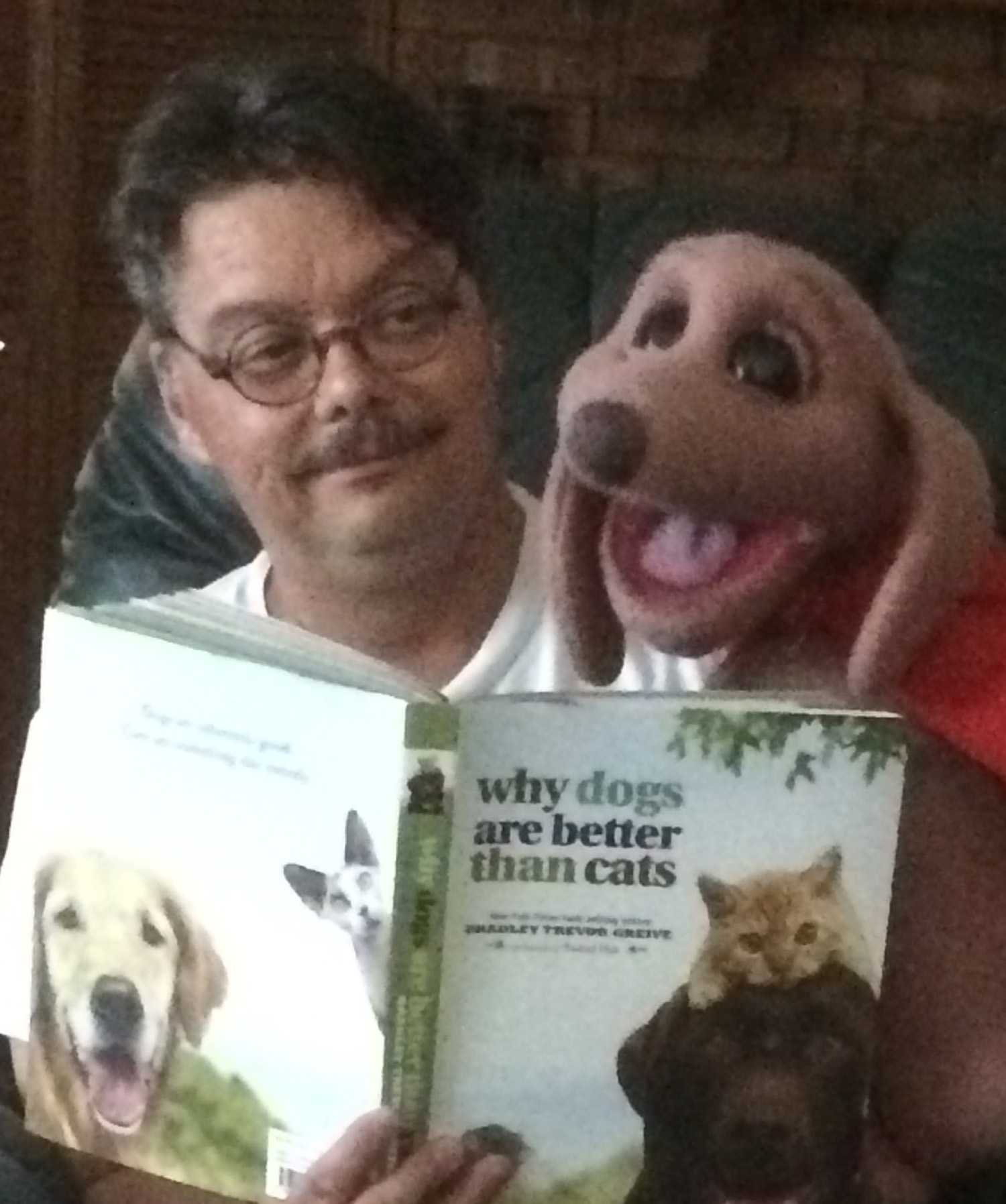 The Astonishing Mr. Pitts and his puppet friend Frank the Wonder Dog share one of their favorite activities; Reading a good Book!