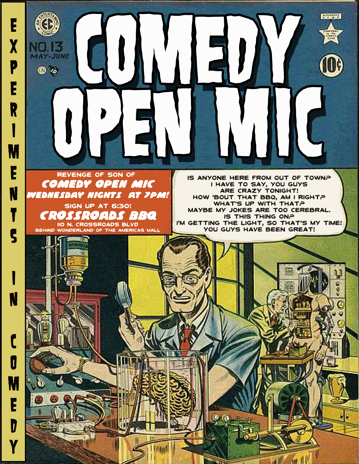 Flyer Number One for the Crossroads BBQ Clean Comedy Open Mic Night