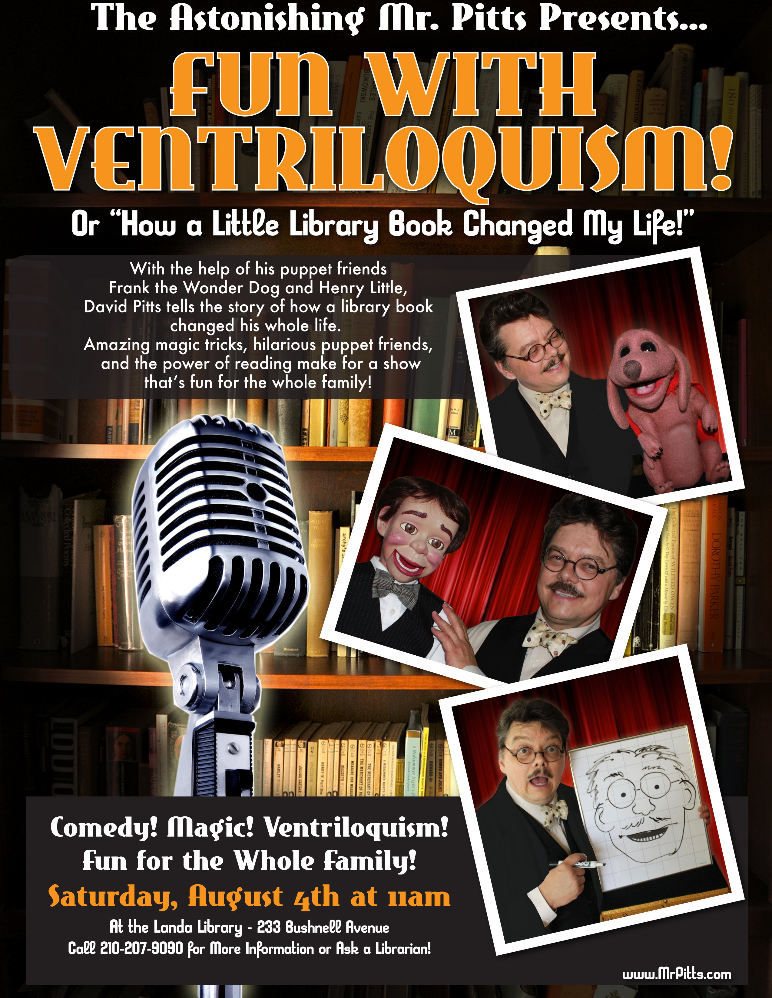"San Antonio ventriloquist and magician David Pitts presents a fun new show for schools and libraries called ""Fun With Ventriloquism""."