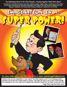 poster for Imagination is a Super Power magic, puppet and cartooning show for schools and libraries