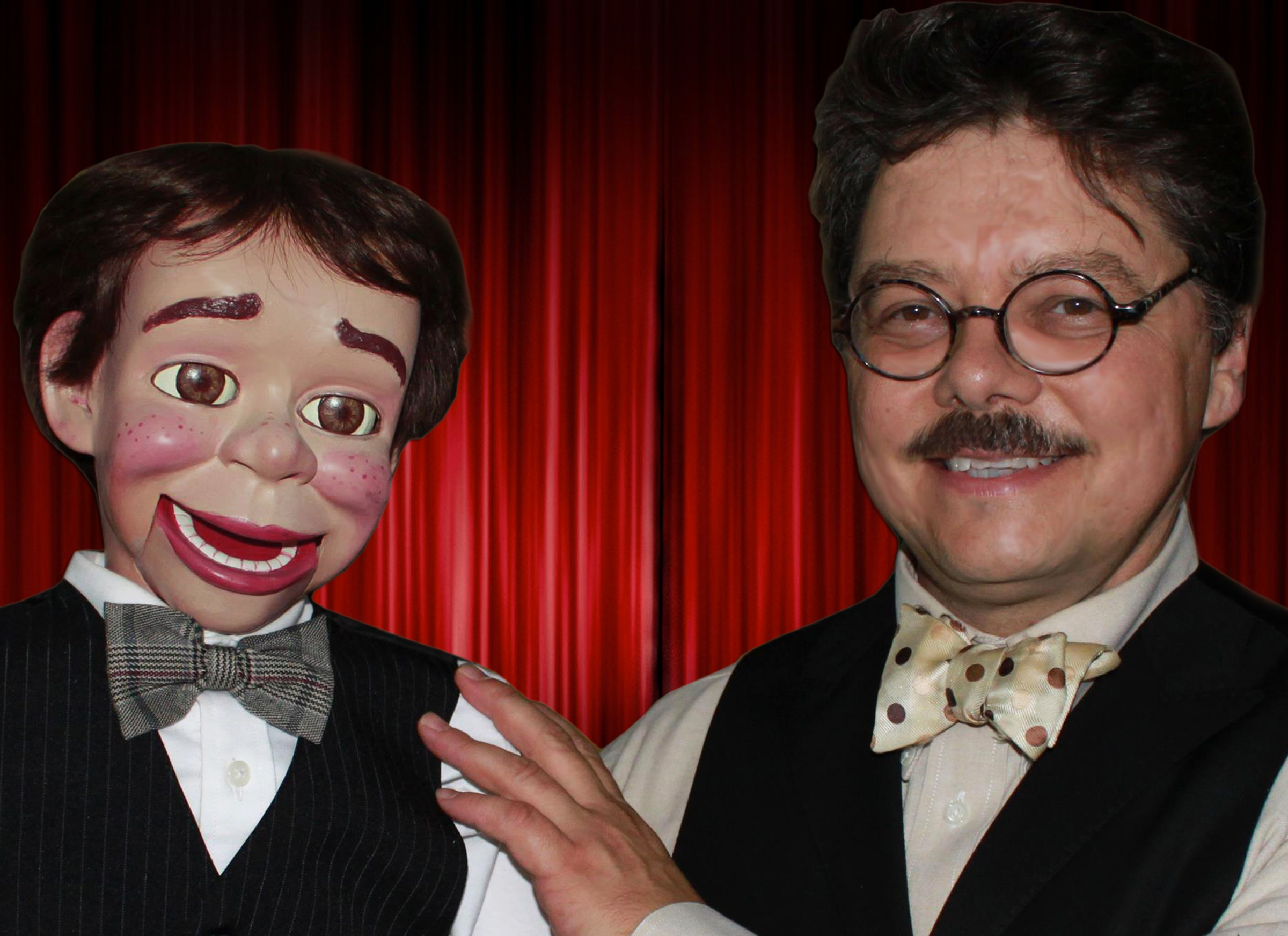David Pitts, San Antonio TX Ventriloquist, comedian and magician and his wooden friend Henry Little.