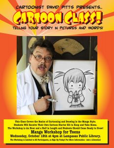 Flyer for David Pitts Cartoon Class for Teens
