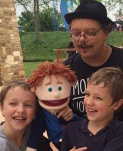 """The Astonishing Mr. Pitts and his puppet pal Hartman entertaining children at Morgan's Wonderland, the world's most inclusive and accessible family fun park. and his puppet pal Hartman making new friends with """"The Magic of Friendship"""" show presented by Morgan's Wonderland"""